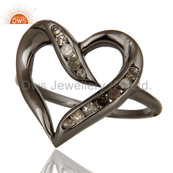 Suppliers Designer Heart Ring with Diamond and Oxidized Sterling Silver
