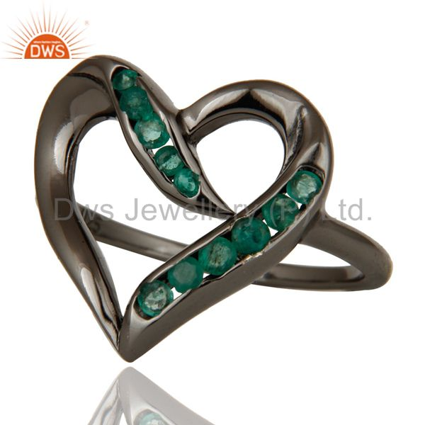 Suppliers Designer Heart Ring with Emerald and Oxidized Sterling Silver