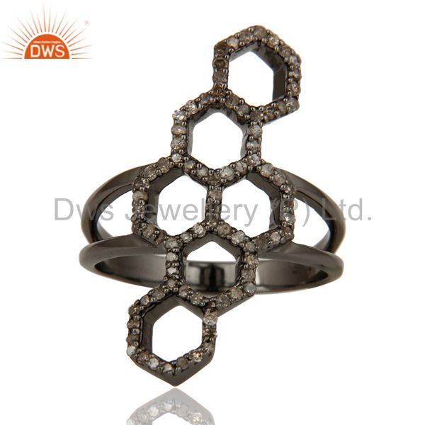Suppliers Oxidized Sterling Silver and Diamond Statement Ring Designer Jewelry