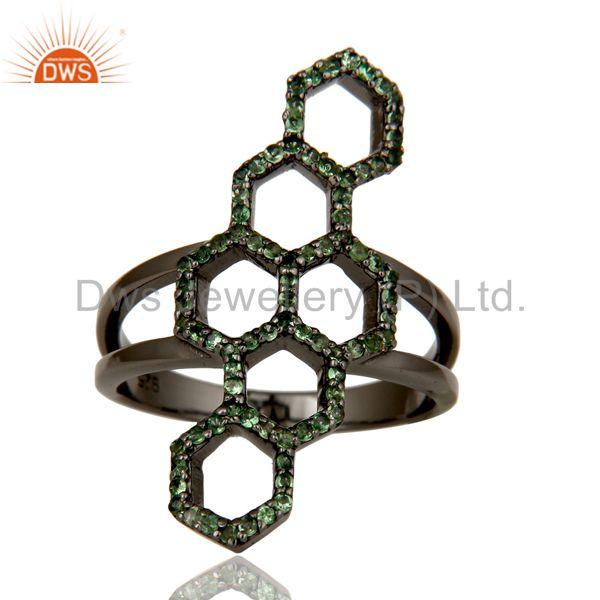 Suppliers Oxidized Sterling Silver and Tsavourite Statement Ring Designer Jewelry