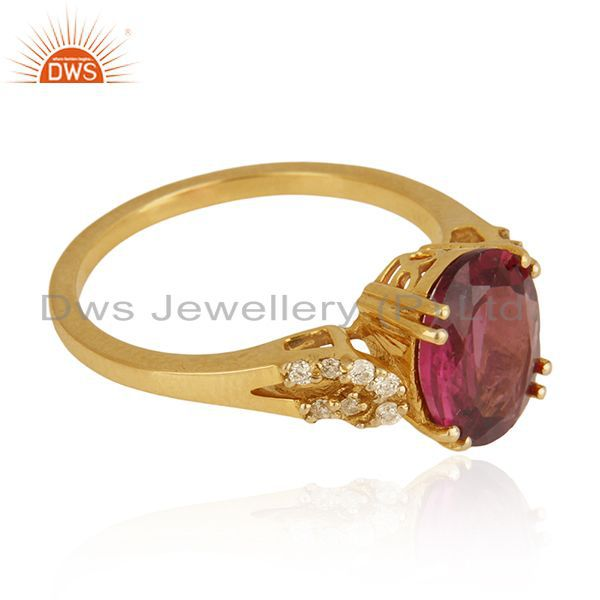 Suppliers Solid 18k Yellow Gold Rubellite Tourmaline and Diamond Wedding Ring Manufacturer