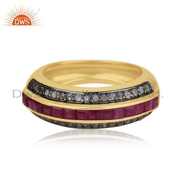 Suppliers 925 SIlver Gold Plated Natural Ruby Pave Set Diamond Ring Jewelry