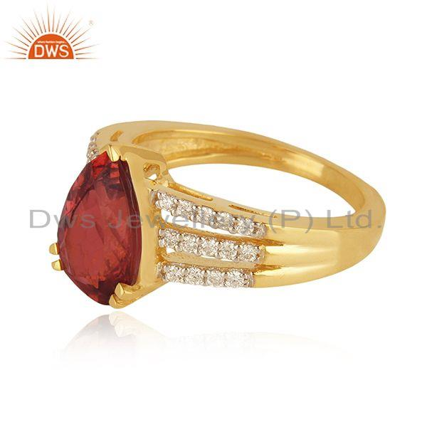 Suppliers Solid 18k Yellow Gold Diamond and Tourmaline Gemstone Wedding Ring Manufacturer