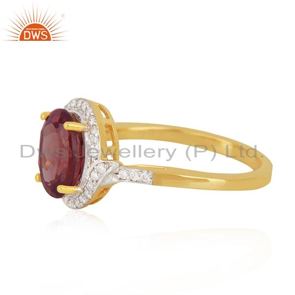 Suppliers Solid 18k Yellow Gold Diamond and Garnet Birthstone Wedding Ring Manufacturer