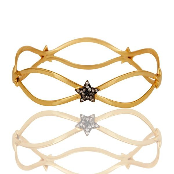 Suppliers 18k Gold Plated Traditional Star Design Brass Bracelet with White Zircon