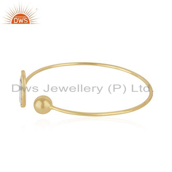 Suppliers White Howlite & White Zircon Openable Brass Bracelet Made In 14K Gold Plated