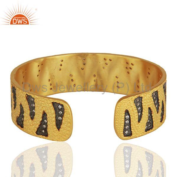 Suppliers Black And Gold Plated Brass Fashion Zircon Cuff Bracelet Manufacturer