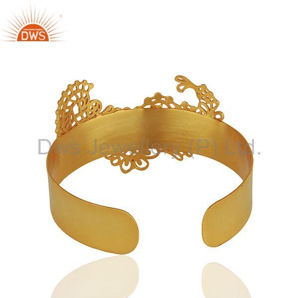 Suppliers Filigree Design Brass Fashion Gold Plated Cuff Bracelet Wholesale