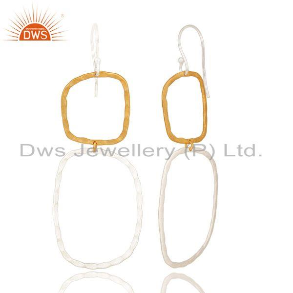 Suppliers 14K Yellow Gold Plated & Silver Plated Handmade Fashion Design Brass Earrings