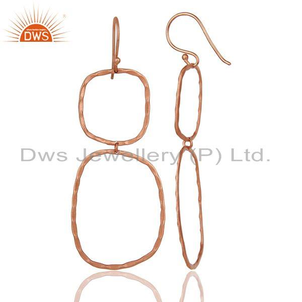 Suppliers Handmade Simple Design 18k Rose Gold Plated Brass Earrings Jewellery