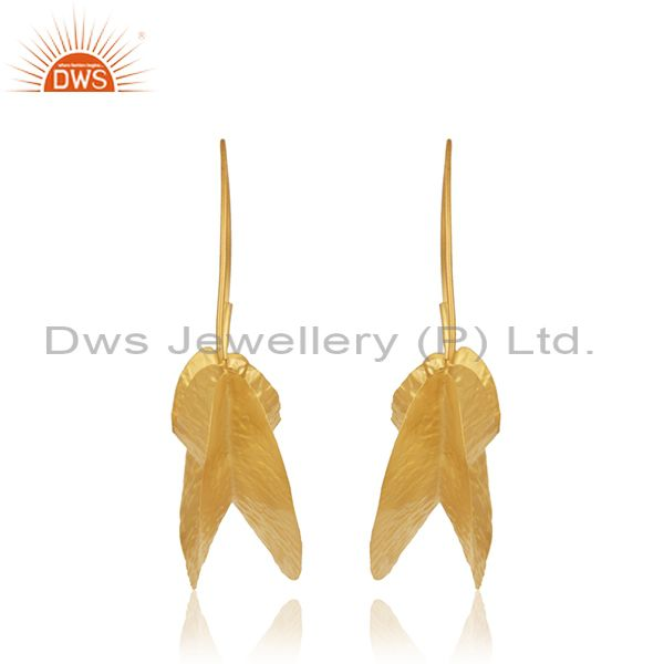 Suppliers Handmade Gold Plated Textured Silver Hoop Earring Jewelry