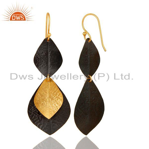 Designer of 14k gold plated & black oxidized traditional handmade fashion brass earrings