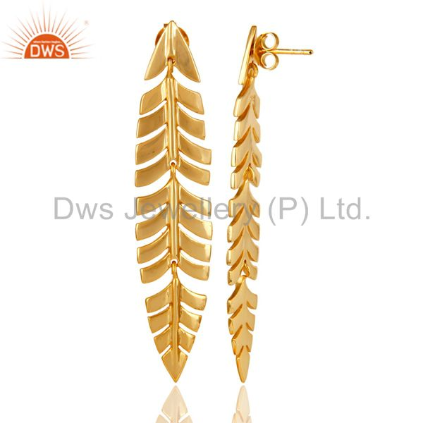 Suppliers Vintage Boho Leaf Style 18k Yellow Gold Plated Sterling Silver Dangle Earrings