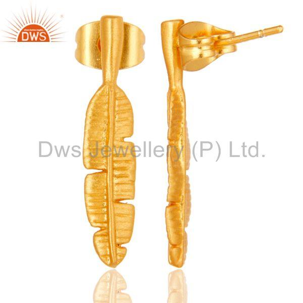 Suppliers Leaf Design Gold Plated Handmade Brass Fashion Earrings Manufacturer