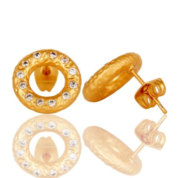 Suppliers White Zircon Round Gold Plated Brass Fashion Stud Earrings Wholesale
