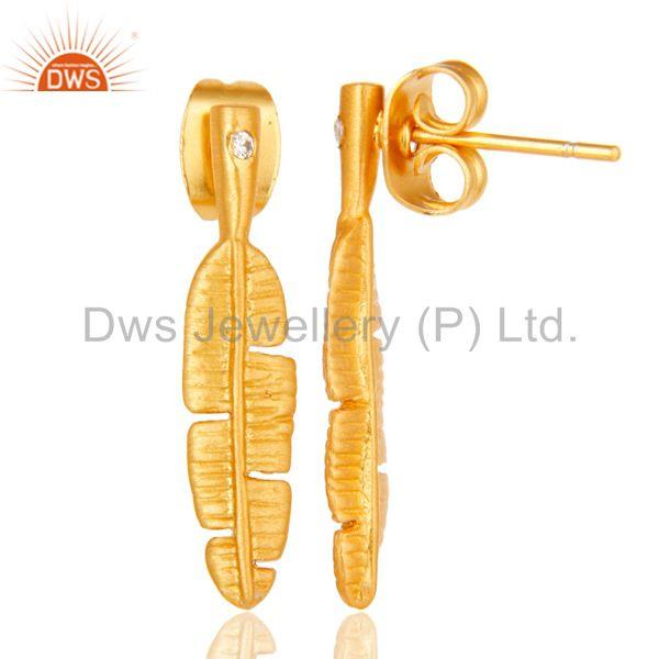 Suppliers Traditional Handmade Banana Leaf Design Brass Earrings with 18k Gold Plated