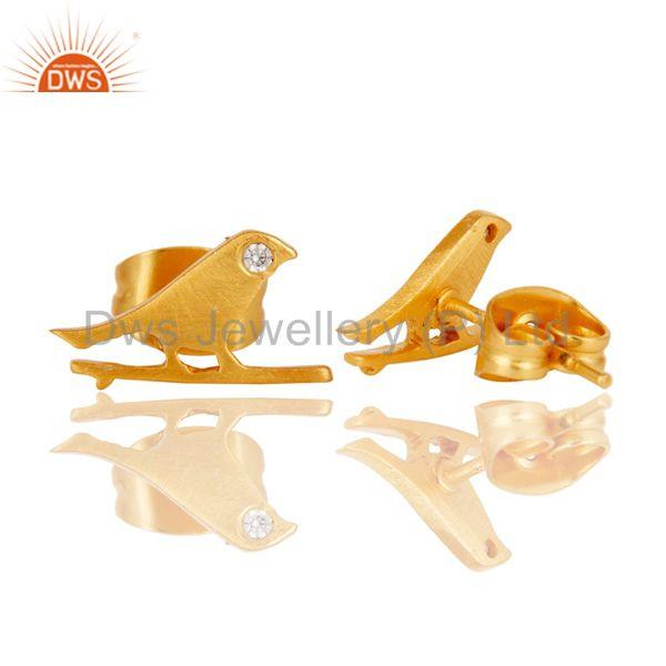 Suppliers Handmade White Zircon Bird Design 18k Gold Plated Brass Stud Earrings Jewellery