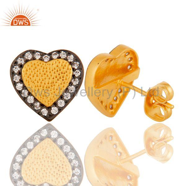 Suppliers 18k Gold Plated Unique Heart Shape Design Brass Stud Earrings with White Zircon