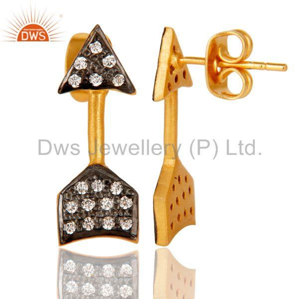 Suppliers Handmade 18k Gold Plated with White Zircon Arrow Design Brass Earrings Jewellery
