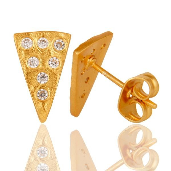 Suppliers Traditional Design 18k Gold Plated with White Zircon Brass Earrings Jewellery