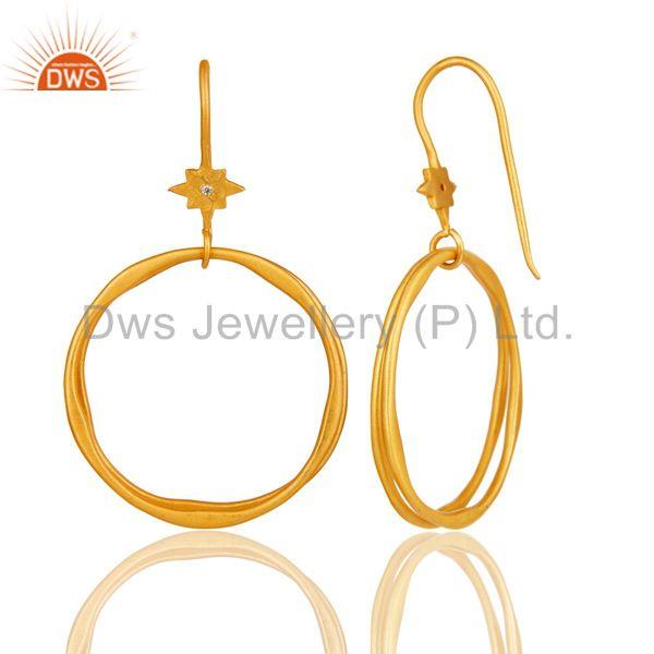 Suppliers White Zircon with 18k Gold Plated Brass Round Bali Earrings Jewellery