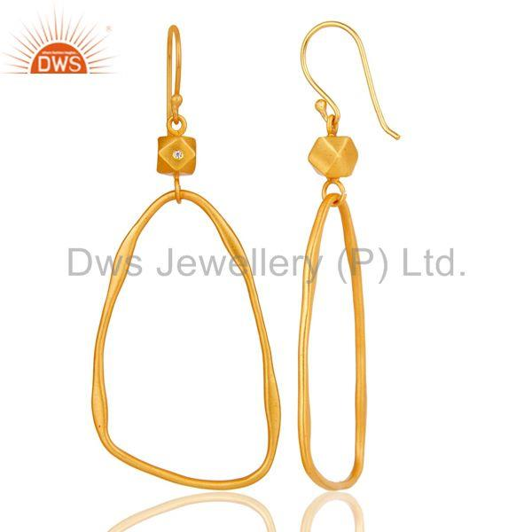 Suppliers 18k Yellow Gold Plated Cool Fashion Brass Earrings with White Zircon