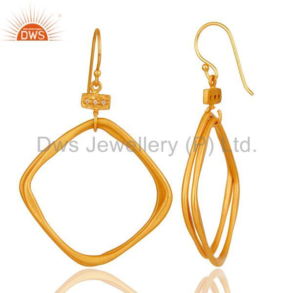 Suppliers 18k Gold Plated Handmade Fashion Double Hoop Brass White Zircon Earrings