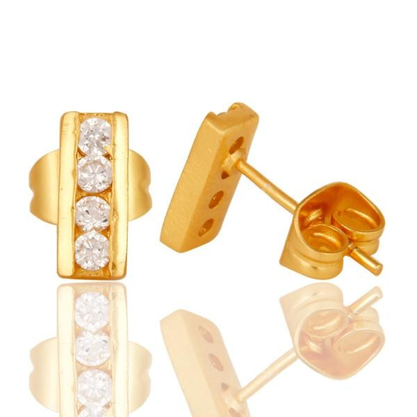 Suppliers 18k Gold Plated with White Zircon Designer Brass Earrings Jewellery