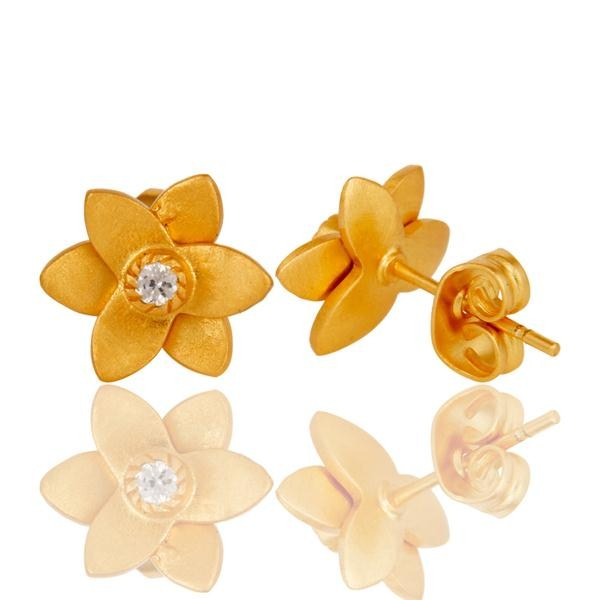 Suppliers 18k Gold Plated with White Zircon Flower Design Brass Earrings Jewellery