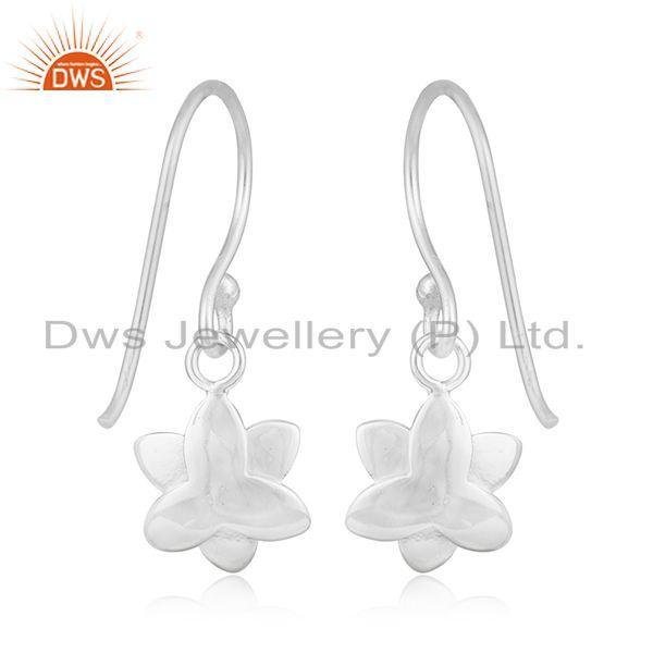 Suppliers Floral Design Fine Silver Plated Brass White Zircon Drop Earring Manufacturer