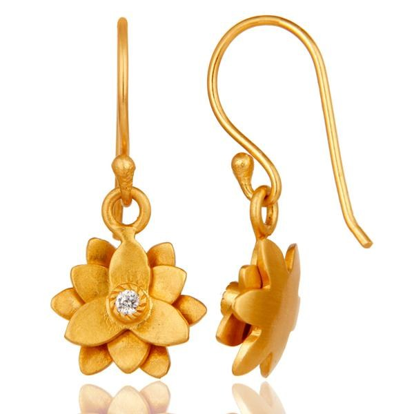 Suppliers 18k Gold Plated with White Zircon Flower Design Brass Dangle Earrings Jewellery