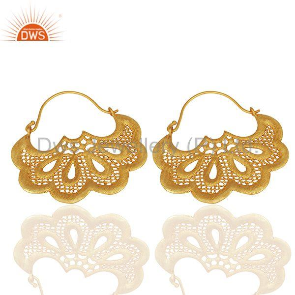 Suppliers Fan shaped earring with hoop ear wire is 5 cm by 3.5 cm
