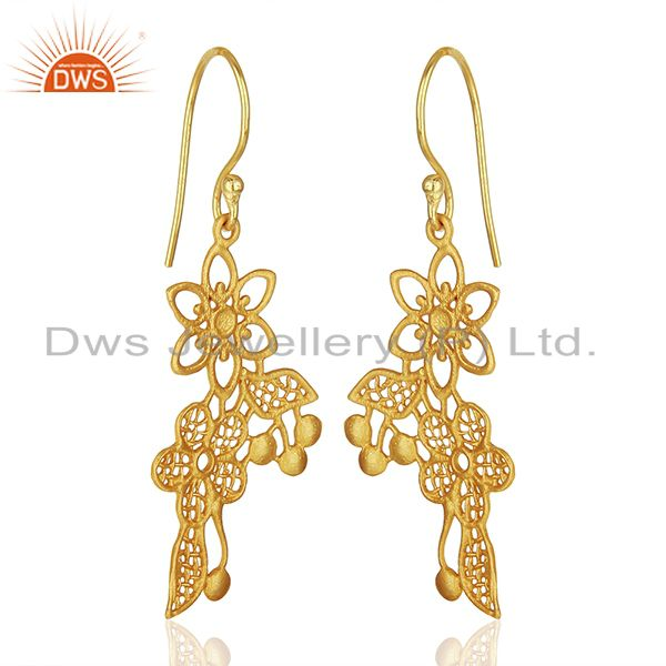 Suppliers Flower Carving Shape Traditional Brass Earrings with 18k Yellow Gold Plated