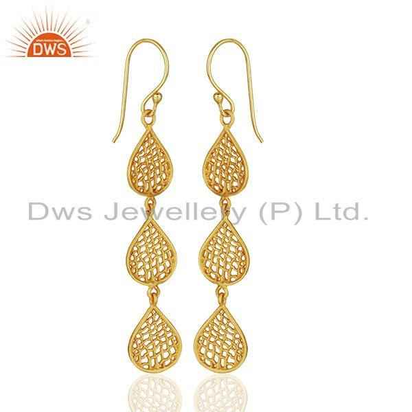 Suppliers Three Lace Tear Drop Gold Plated Designer Earring