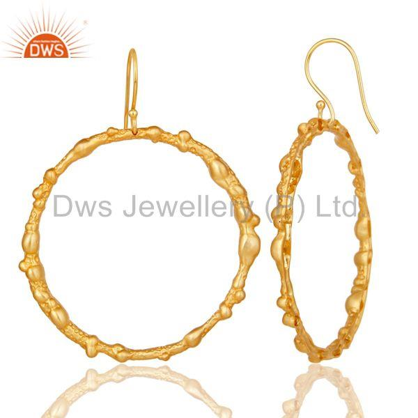 Suppliers Handmade Woman Vintage Fashion Brass Dangle Earrings With 18k Gold Plated