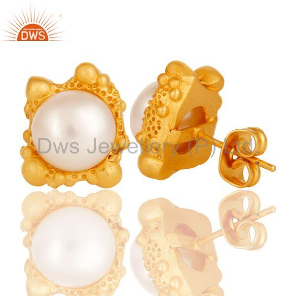 Suppliers Lava Post 8 MM Pearl Studded Designer Fashion Earring