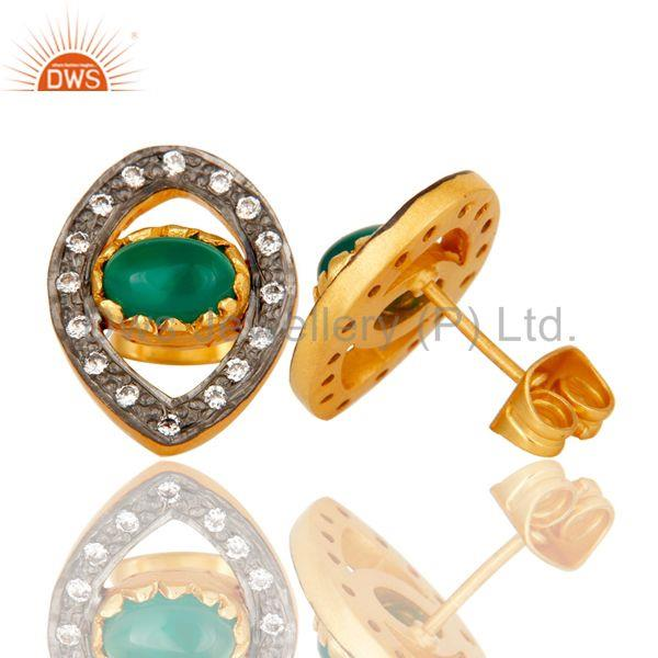 Suppliers Mind Blowing Handmade 18k Gold Plated Brass Stud Earrings with Onyx & CZ