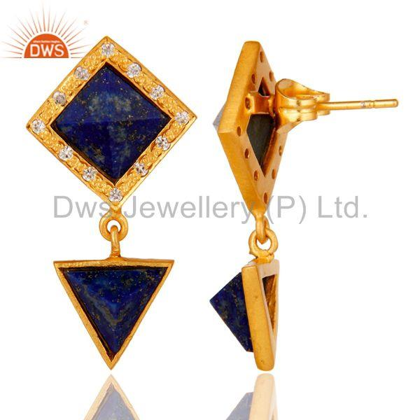 Suppliers Handmade Lapis & White Zircon Tip Top Design Brass Earrings with 18k Gold Plated