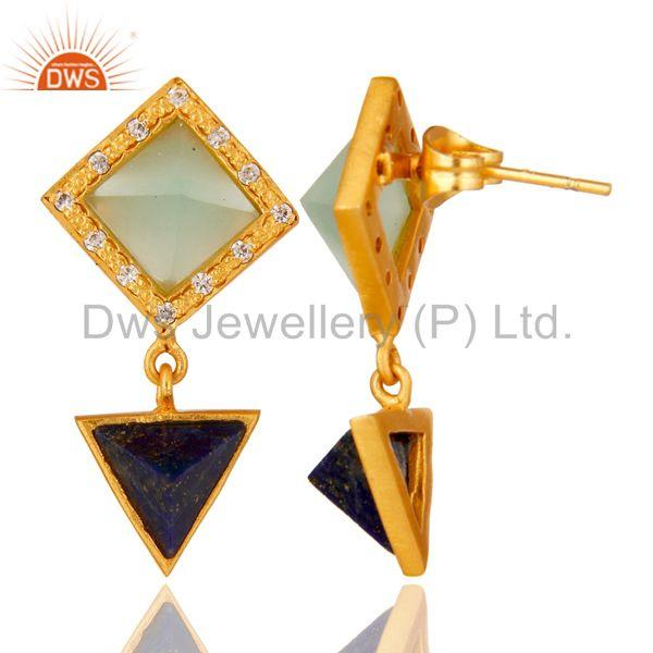 Suppliers Lapis,Aqua And Cubic Zarconia Tip Top Design Fashion Earrings