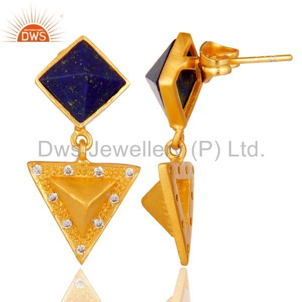 Suppliers Lapis Lazuli And Cubic Zarconia Triangle Design Fashion Earrings