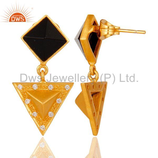 Suppliers Black Onyx And Cubic Zarconia Triangle Design Fashion Earrings