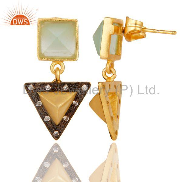 Suppliers Aqua And White Zirconia Tip Top Design Fashion Wholeslae Earrings