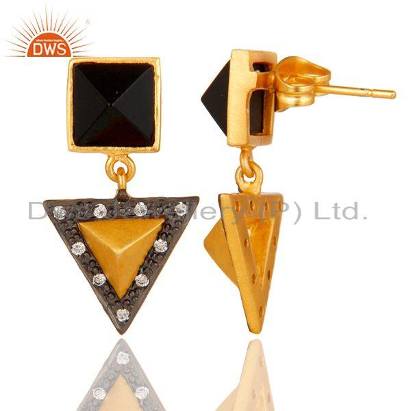 Suppliers Handmade Black Onyx & CZ Tip Top Design Fashion Earrings