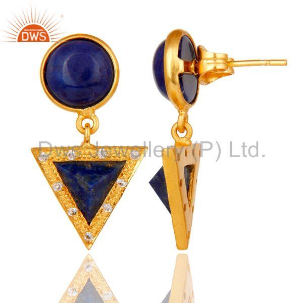 Suppliers 18k Gold Plated Lapis & White Zircon Handmade Tip Top Fashion Earrings