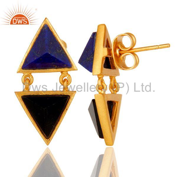 Suppliers Handmade Lapis & Black Onyx Tip Top Design Brass Earrings with 18k Gold Plated