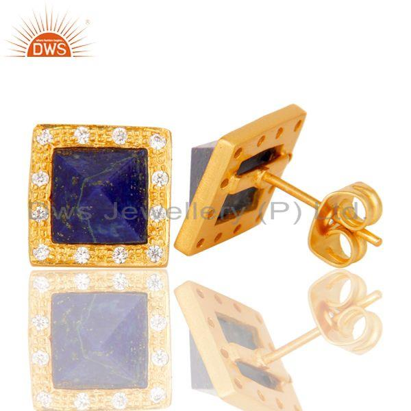 Suppliers Handmade Lapis & CZ Cushion Design Brass Stud Earrings with 18k Gold Plated