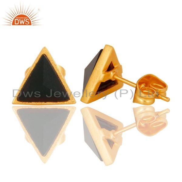 Suppliers Handmade Black Onyx Design Brass Stud Earrings with 18k Gold Plated