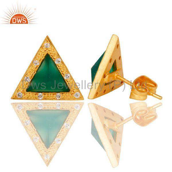 Suppliers Green Onyx & Cubic Zarconia Design Brass Stud Earrings with 18k Gold Plated