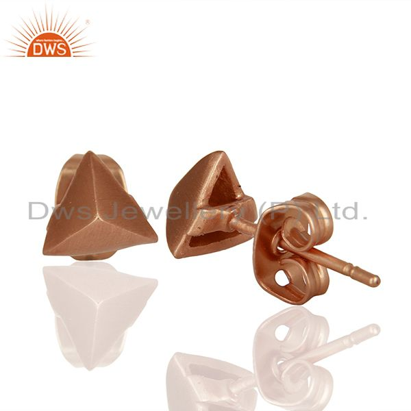 Suppliers Pyramid Design Rose Gold Plated Brass Fashion Stud Earring Supplier