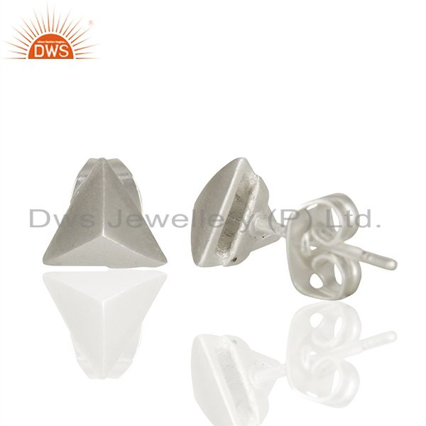 Suppliers Pyramid Design Silver Plated Brass Fashion Stud Earring manufacturer